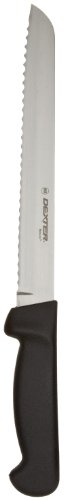 "Dexter-Russell Basics P94803B 8"" Scalloped Bread Knife with Black Polypropylene Handle"