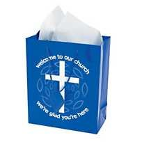 ''Welcome to our Church'' Gift Bags - Blue - (Package of 12)