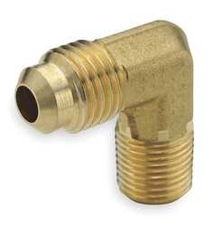 Parker Hannifin 149F-6-6 Brass 90 Degree Forged Male Elbow, 45 Degree Flare Fitting, 3/8