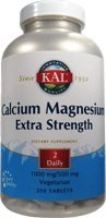 KAL Extra Strength Calcium Magnesium Tablets, 250 Count