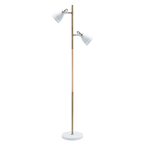 Light Society Tasman Floor Lamp, Sand Textured White with Antique Brass and Wood Finished Body, Mid Century Modern Industrial Style (LS-F203-WHI) ()