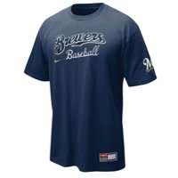 Milwaukee Brewers Nike MLB 2011-2012 Practice II T-Shirt (Navy) (Large)