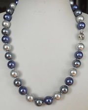 Gray Shell Pearl Necklace - 23 inches beautiful 12MM Blue Gray Multicolor South Sea shell pearl necklace