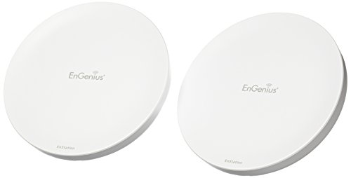 EnGenius 80211n 2x2, 5GHz, high-powered, long range, Wireless Outdoor Client Bridge/CPE/AP, directional antenna, long-range, point-to-point, IP55, 26 dBm,19 dBi, two Ethernet Port, PoE Injector included [2-Pack] (N-EnStation5 Kit) (Access Client Port)