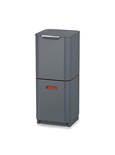 Joseph Joseph Intelligent Totem Compact 40-Litre Waste Separation & Recycling Unit-Graphite, 40 Liter/10.6 Gallon