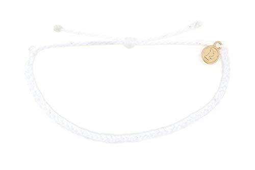 Pura Vida Mini Braided White Beaded Bracelet - Silver Plated Charm, Adjustable -