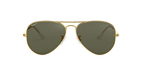 Ray-Ban RB3025 Aviator Large Metal Sunglasses 58 mm, Polarized, Arista Gold/Polarized Crystal ()