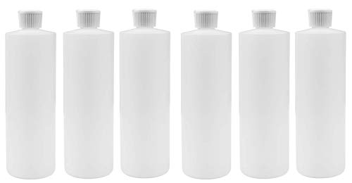 16 OZ PLASTIC SQUEEZE BOTTLES WITH FLIP TOP DISPENSER CAP FOR LIQUIDS/OILS/SHAMPOOS SET OF 6 (6, WHITE CAPS)