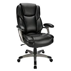 Realspace Cressfield Leather High-Back Chair, - Back Leather Medium