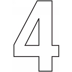 75mm white helvetica bold condensed style vinyl number 4