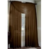 MONAGIFTS BROWN Chocolate COLOR Voile Window Panel Solid sheer valance curtains 95\