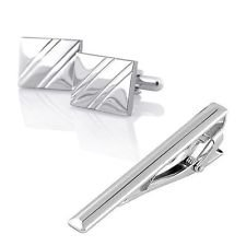 Blazers Proforms Costumes one pair of NEW For Men's Attire Tuxedo Silver Square Diagonal Ribbed Cufflinks and Tie Clip set