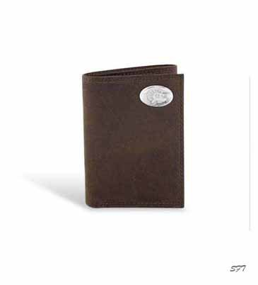 Turkey Crazy Horse Leather Tri Fold Wallet Brown