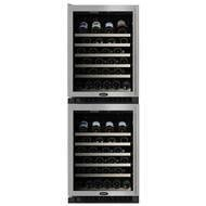 90 Bottle Dual Zone Wine Refrigerator Finish: Black with Overlay Frame Glass Door, Hinge Location: - Auto Defrost Left Hinge