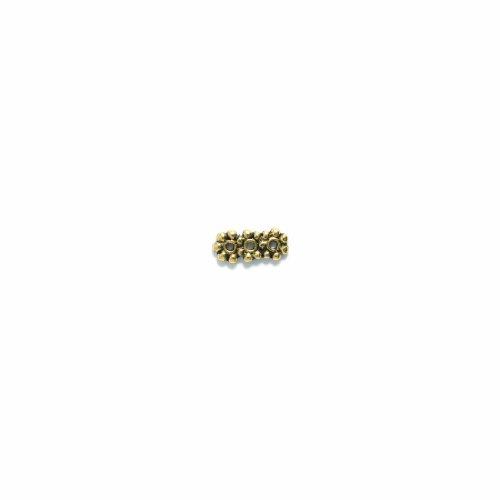 Shipwreck Beads Pewter 3-Hole Daisy Spacer Bar, Antique Gold, 6 by 15mm, - Spacer Bar Pewter