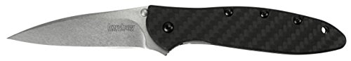 "Kershaw Leek Carbon Fiber (1660CF); Pocket Knife with 3"" Stonewashed CPM 154 Steel Blade, Black Carbon Fiber Handle, SpeedSafe Assisted Opening, Frame Lock, Tip Lock and Reversible Pocketclip; 2.3 OZ."