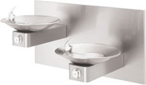 Haws 1011 Dual Satin Finish 18 Gauge 304 Stainless Steel ''Hi-Lo'' Barrier-Free Wall Mounted Drinking Fountain with Swirl Bowl and Back Panel (Mounting Frame Not Included) by Haws