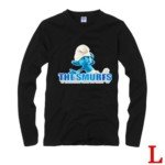 Cute The Smurfs Style 100% Cotton Long-Sleeve T-Shirt-Clumsy Smurf Pattern/Size L