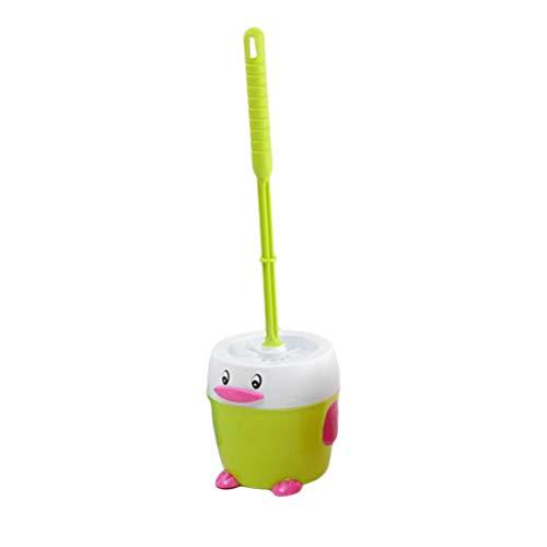 Yardwe Toilet Brush and Holder Set Cartoon Penguin Shaped Toilet Bowl Cleaner Brush and Holder for Bathroom Green (Kids Toilet Bowl Brush)