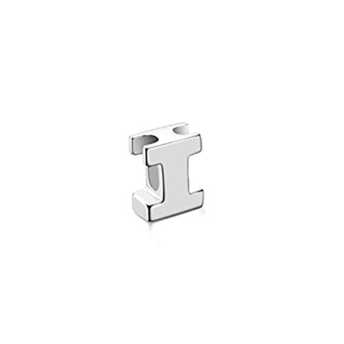 925 Sterling Silver Mini Letter Charm Pendant with Hidden Bail Block Initial I