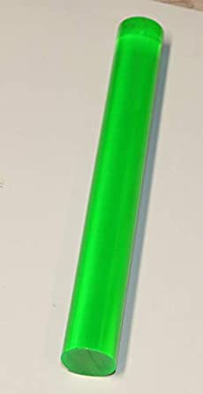 Plexiglass Lucite Rod 2 Pcs 1//2 Diameter x 12 Clear Green Fluorescent Translucent Extruded Acrylic 12.7mm .50 Dia