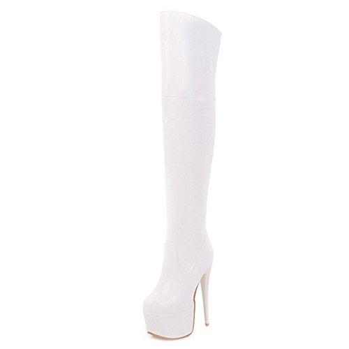 Wedding Boots Knee White Parties Stiletto Boots Platform Style Sexy The Over for and Chic with Thick SJJH 6fnHpHA