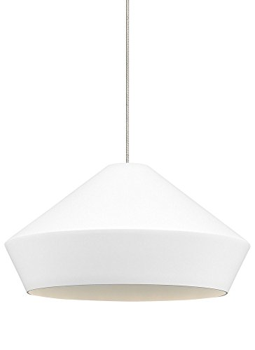 (Tech Lighting 700KLBMLWS Brummel - One Light Kable Lite Low-Voltage Pendant, Satin Nickel Finish with White Shade)