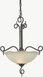 Forte 2463-02-32 Two Light Bowl Pendant, Antique Bronze Finish Umber Glass