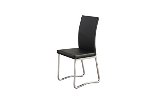 poundex-2-piece-with-pu-contemporary-in-straight-lined-dining-chair-set-black