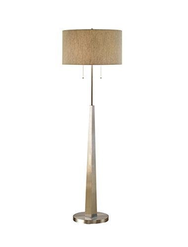 Artiva USA Luxor, Contemporary Design, 68-Inch Square-tapered Brushed Steel Floor Lamp with Rounded Tan Shade