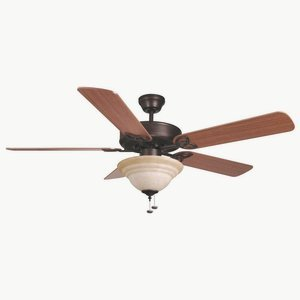 Ellington Fans Bld52abz5c1 Builder Deluxe   52  Ceiling Fan  Aged Bronze Finish With Dark Oak Mahogany Blade Finish With Tea Stain Glass