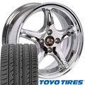 (OE Wheels 17 Inch Fits Ford Mustang 1979-1993 4Lug Cobra R Style FR04A Chrome 17x9/17x8 Deep Dish Rims Toyo Proxes 4 Plus Tires SET)