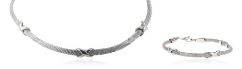 Stainless Steel Mesh Steel Knot Detailing Bracelet and Necklace Jewelry Set