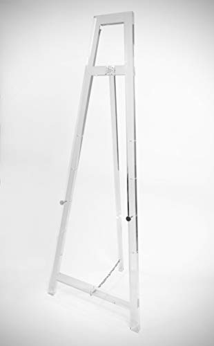 Designstyles Decorative Acrylic Easel Stand Adjustable Floor Display for Art Pieces, Signs, Mirrors and Chalk Dry Erase Boards 58 Tall, Solid Clear for Classy Exhibits and Paintings