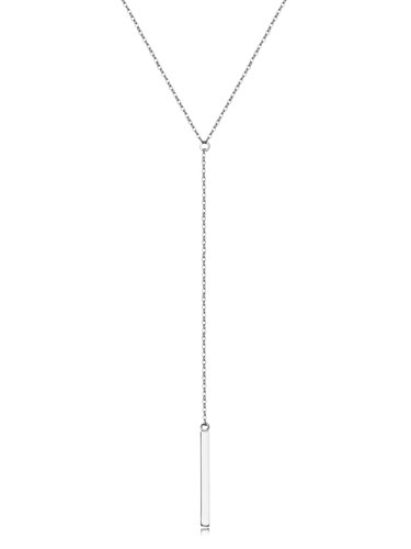 (Metzakka Sterling Silver Lariat Necklace, Chic Minimalist Drop Bar Y Chain Necklace for Women)
