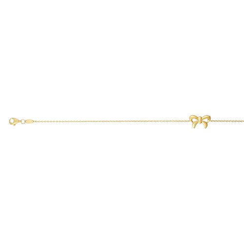 14k Yellow Gold 10 Inch Polish Finish Bow Tie Cable Anklet Bracelet by Diamond Sphere