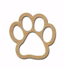 Paw Print Shape Unfinished Wood Craft Cut Outs Variety of Sizes (5