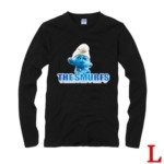 Cute The Smurf Style 100% Cotton Long-Sleeve T-Shirt-Brainy Smurf 02 Pattern/Size L