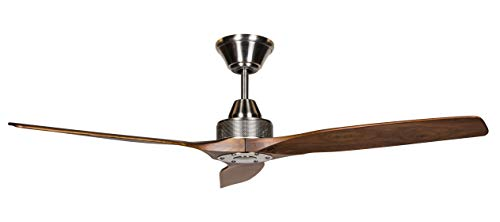 Hyperikon 52 Inch Ceiling Fan, 30W, Modern Industrial Hugger, Brushed Nickel, 3 Blades, No Lights, Remote Controlled