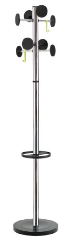 Alba Floor Coat Stand with 8 Rounded Plastic Coat Pegs, Chrome (PMSTAN3CH) - Alba Coat Rack