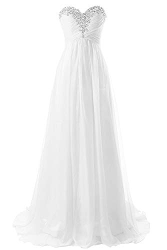 JAEDEN Wedding Dresses Beach Bridal Dresses Chiffon Wedding Gowns Strapless Bride Dress White US16W