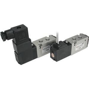 SMC VFS1120-1D-01-F - Air Control Valve - Body Ported Subplate Included, 4-Way, 1 Solenoids, Number of Positions 2, 100 V ac Supply Voltage, DIN Terminal, 0.38 (P to A/B) C, 0.4 (A/B to R1