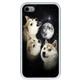 iPhone 4S Case, iPhone 4S Case - Scratch Resistant White Hard Case Cover for iPhone 4S Three Doge Moon Absorption Hard White Case Bumper for iPhone (Doge Phone Cover)