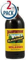 Plantation Unsulphured Blackstrap Molasses -- 15 fl oz Each / Pack of 2