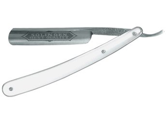 Dovo Best Quality Straight Razor, 100-587, Full Hollow Ground Blade, Synthetic White Handle by Dovo