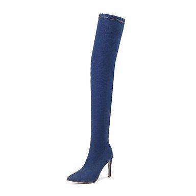 La Caída Azul Casual De US5 Sobre Marino Tela Moda RTRY Botas CN35 Zapatos La De EU36 UK3 Azul De 5 Primavera Para 5 Botas Mujer Rodilla De Botas UxYU1qX7