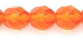 Preciosa Czech Fire 8mm Polished Glass Bead, Faceted Round, Transparent Orange, - Czech Beads 100 Glass Faceted