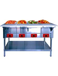 Commercial Electric Steam Table - ATOSA 240V Stainless Steel Food Warmer with Undershelf, Hot Food Buffet Table for Restaurant Kitchen - 5 Open Well