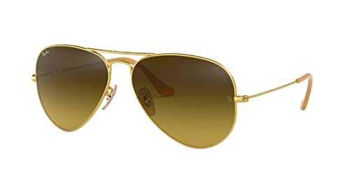 Ray-Ban 3025 Aviator RB 3025 112/85 55mm Matte Gold Frame/Brown Gradient Small (55mm Ray Ban Aviators)