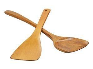 KLOUD City ® Kitchen Wood Stir Fry Cooking Serving Tool Sets (Wood Spatula Turner Set (Arc+Diagonal)) Kitchen Tools at amazon